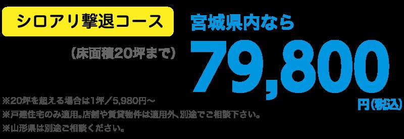 シロアリ撃退コース 宮城県内なら床面積20坪まで79,800円(税込)